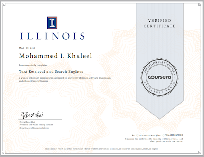 A Faculty Member in the Computer Engineering Department, Mr. Mohammed Khaleel, received a new certificate